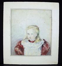 Portrait d'une petite fille blonde fillette Aquarelle XIX little girl watercolor