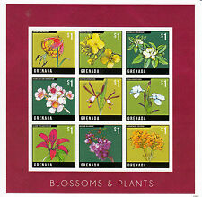 Grenada 2013 MNH Blossoms & Plants 9v M/S Flowers Rapeseed Lilies Magnolia