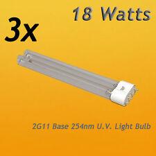 3 PCS UV Light Bulbs 18W Watt  G11 Base 4 Aquarium Pond UV Sterilizer Clarifier