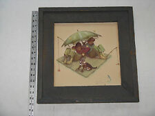 "Norman Rockwell Paper Tole 3D Decoupage Rafting Fish Dog Picture 17"" Barn Frame"