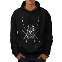 Wellcoda Spider Skull Face Mens Hoodie, Death Casual Hooded Sweatshirt