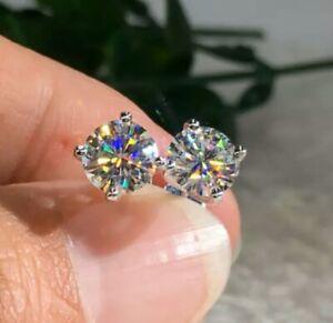 2.00Ct Round-Cut Brilliant VVS2 Diamond Solitaire Stud Earring 14k White Gold