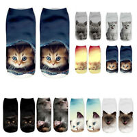 Unisex Women 3D Cat Printed Animal Socks Cute Cat Low Cut Ankle Socks Christmas