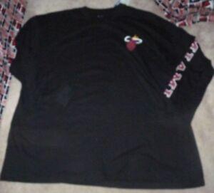NEW NBA Miami Heat L/S Long Sleeve T Shirt BIG TALL 5XL XXXXXL Black NWT