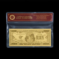 WR Bank Note US $1 Billion Dollar Banknote Gold Foil Big Value Free COA Sleeve