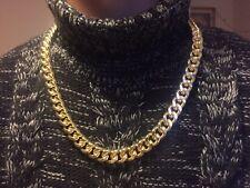 71.1cm 15mm Chapado En Oro Al Mafia Cadena Sin Piedras Collar Navidad Cumpleaños