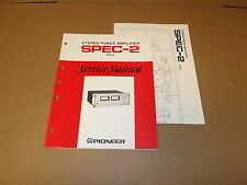 Pioneer SPEC-2 Stereo Power Amplifier Original Service Manual