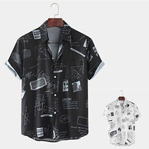 Men Short Sleeve Geometric Math Shirt Beach T Shirts Summer Casual Tops Blouse
