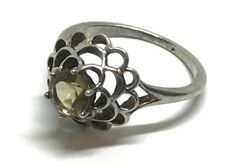 Estate Sterling Siver NVC Citrine Floral Statement Ring (Size 5.5)