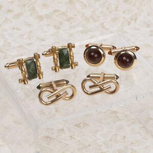Vintage 3 Pairs Gold Tone Krementz Cuff Links Red Green & Knot Designs