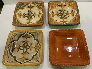 4 Artimino Tuscan Countryside Earthenware Square Plates Sage Green Yellow