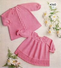Baby Knitting Pattern Copy Sweet Lacy Dresses in 4 Ply  2 Styles