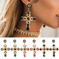 Vintage Womens Baroque Style Crystal Luxury Gold Cross Large Long Dangle Earring