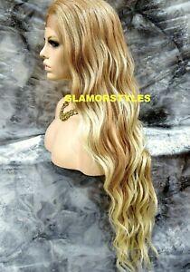 Human Hair Blend Lace Front Full Wig Long Wavy Layered Medium Blonde Mix NWT
