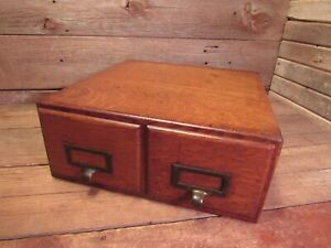 Antique Vintage THE WABASH CABINET CO. 2 drawer Card Catalog File Wood Cabinet