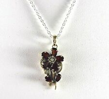 3.21ct Natural Garnet 925 Sterling Silver Flower & Leaf Pendant/Necklace