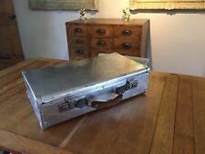 Vintage English Metal Rivet Suitcase Polished