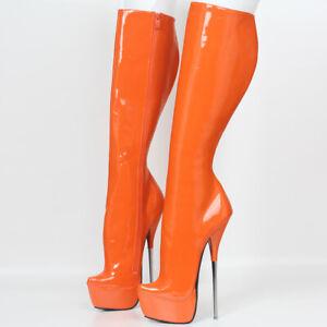Platform 21CM Extreme High Heel Ballet Stiletto Patent Fetish Boots Size 5-13