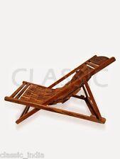 Wooden Long Mat Folding Chair ✿ Garden Rest Reclining Wood Hand carved ✿ Folded