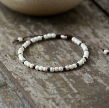 Natural Beaded Friendship Bracelet Howlite & Silver Hematite Beads Stacking