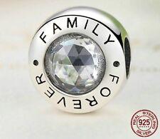 Forever familia encanto 925 plata esterlina genuino familia para siempre del grano