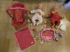 Lot of 2 Baby Chou Chou Dolls with Baby Carrier & Changing Bag with Accessories