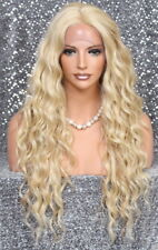 Full lace front wig Long wavy center part Blonde mix NWT Hair piece 613-27 JSNX