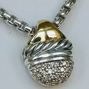 "David Yurman Diamond 18k & Sterling Acorn Pendant Necklace, 16"" Chain, $1050 EUC"