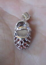 Baby Shoe Bootie Charm Pendant-Ruby Sterling Silver-July Birthstone