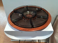 Large Danish Modern Digsmed Denmark Teak Lazy Susan w Holmegaard Glass Dishes