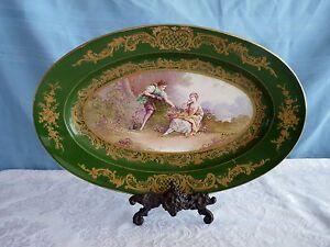 "Sevres LOUIS-PHILIPPE Hand-Painted PORCELAIN 19c signed 16"" Romantic PLATTER"