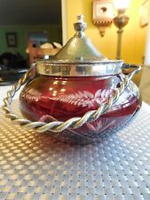Antique Bohemian Ruby Red Cut Clear ETCHED Glass Bowl w/ Silver-Plate Lid & Hdle