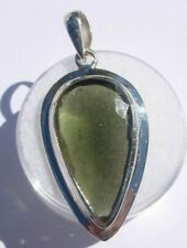 New listing 21.47 carat smooth Faceted Moldavite Pendant 32x18mm set in solid .925 silver