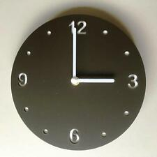 Round Mocha Brown Mat Clock, White Backed, White Hands & Silent Sweep Movement