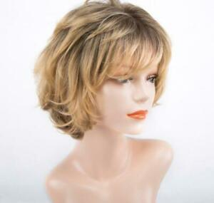 Women Daily Short Bob Natural Full Wig With Fringe Bangs Ombre Mix Blonde Brown