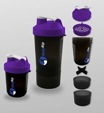 Protein Shaker Whey Bottle 500ml Purple │ Blender Cup 3 Compartments by BodyRip