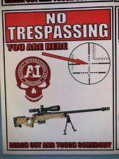 Guns: Novelty Sticker WARNING SNIPER AREA, ACCURACY INTERNATIONAL RIFLES
