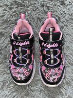 Skechers S-Lights Light Up Sneakers Girls Size 10 Black Pink Purple Hearts