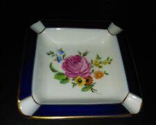 Hutschenreuther Aschenbecher Porzellan Goldrand Kobaltblau Blumen mit Nummer