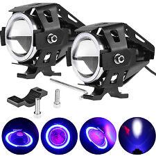 2pcs LED Motorcycle Moto ATV White Spot Fog Light Blue Angel Eye Headlight Lamp