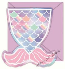 GIRLS BIRTHDAY PARTY MERMAID INVITATION WITH ENVELOPES 8PK INVITE UNDER THE SEA