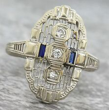 Ladies Antique Art Deco 18K White Gold Diamond Sapphire Cocktail Filigree Ring
