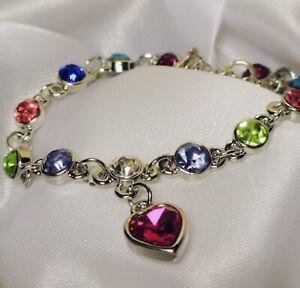 Women's Colourful Austrian Crystal, Silver Colour, Charm Tennis Bracelet,  Gift