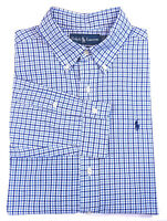 RALPH LAUREN Mens Classic Fit Size Large Blue Plaid Long Sleeve Button Down EUC