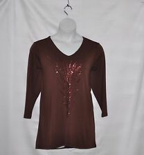 Bob Mackie Feather Sequin Embroidered Top Size S Brown