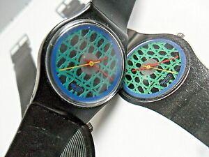 Original Vintage Lady's 1986 Swatch Chelsea LB 112 Swiss Quartz Watch Runs