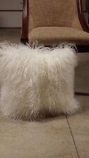 """Handmade Mongolian Fur 18""""x18"""" Square White Pillow Cushion & suede fabric backin"""