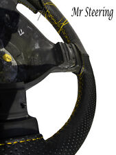 FOR PEUGEOT 306 BLACK PERFORATED LEATHER STEERING WHEEL COVER YELLOW  STITCH