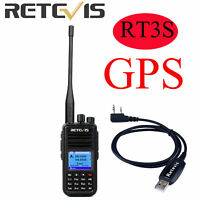Retevis RT3s DMR Digital Walkie Talkie GPS Dual Band(UHF/VHF)Two Way Radio+Cable