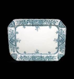 Antique 1880s Wallis Gimson & Co ENGLAND Alexandria transfer ware platter A/F